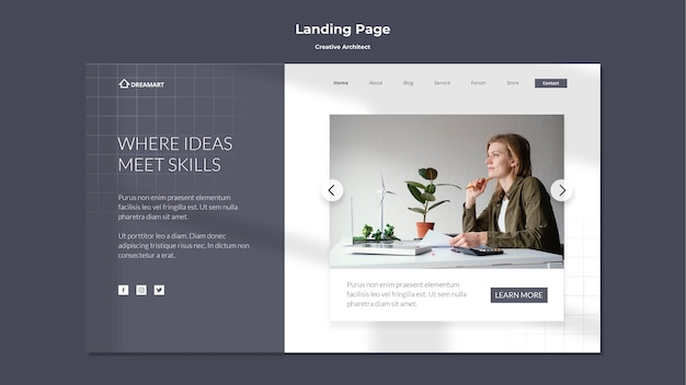 Creative architect landing page