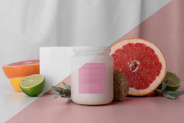 Creative arrangement of mock-up candle packaging