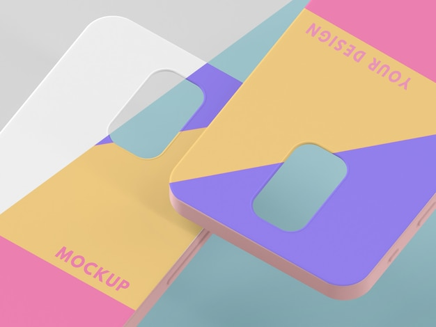 Creative assortment of phone case mock-up