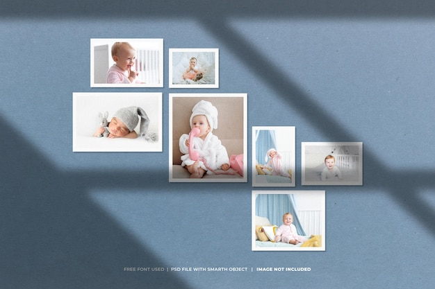 Creative baby photo collage mockup collection