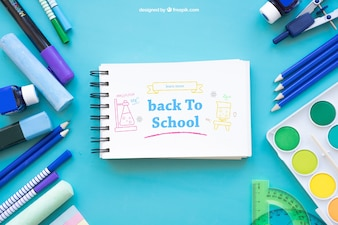 Creative back to school mockup with horizontal notepad