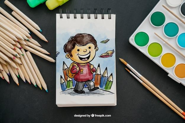 Творческий обратно в школьный макет с помощью блокнота