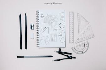 Creative back to school template with notebook