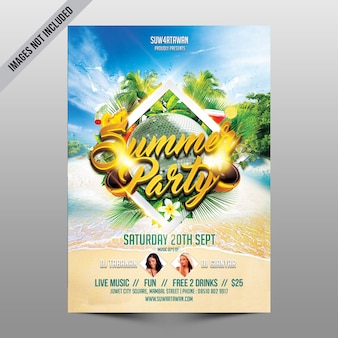 Creative beach party flyer mockup