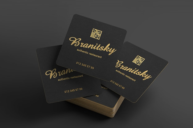 Creative black and gold square business cards mockup