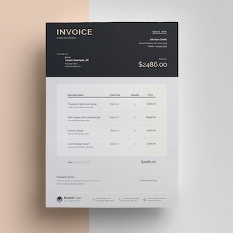 Creative black invoice with topbar