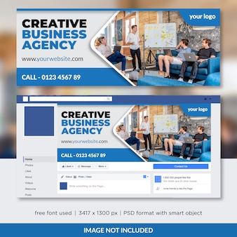 Creative business agency facebook timeline cover template design