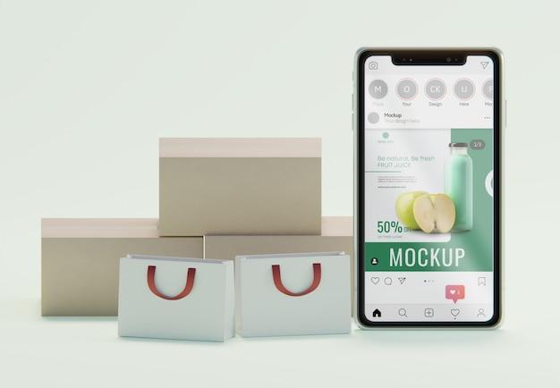 スマートフォンのモックアップによるクリエイティブなビジネスアレンジメント