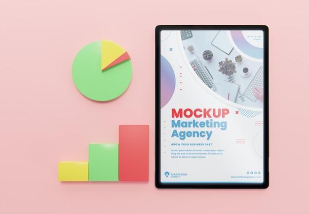 タブレットモックアップによるクリエイティブなビジネスアレンジメント
