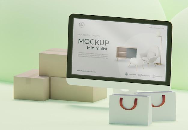 ディスプレイのモックアップを備えたクリエイティブなビジネスの品揃え