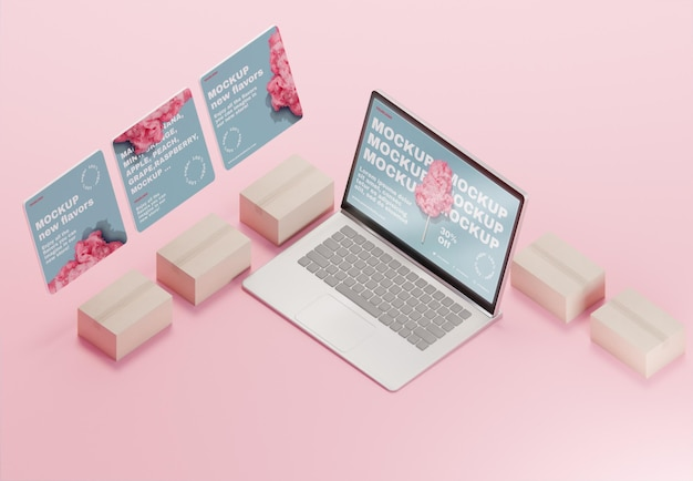 ノートパソコンのモックアップを備えたクリエイティブなビジネスの品揃え