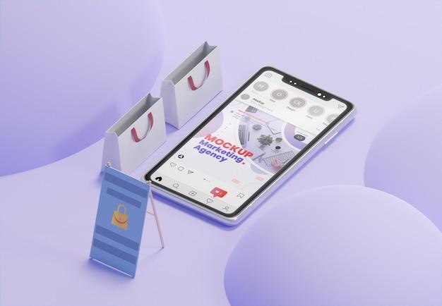スマートフォンのモックアップでクリエイティブなビジネスの品揃え