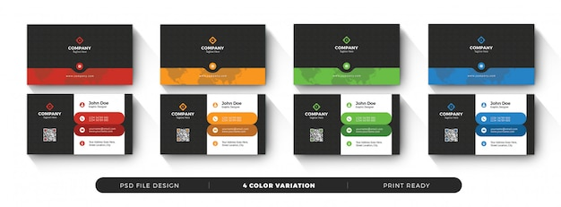 Creative business card template with color variation Premium Psd