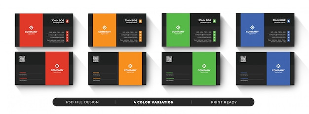 Creative business card templates with color variation Premium Psd