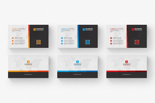 Creative business card with multiple color details