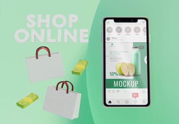 スマートフォンのモックアップによるクリエイティブなビジネス構成