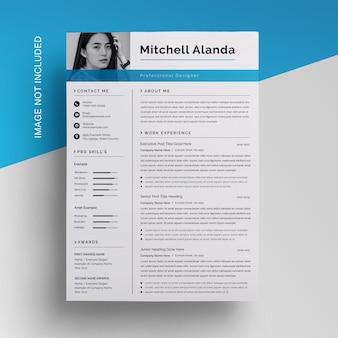 クリエイティブビジネス履歴書デザインテンプレート