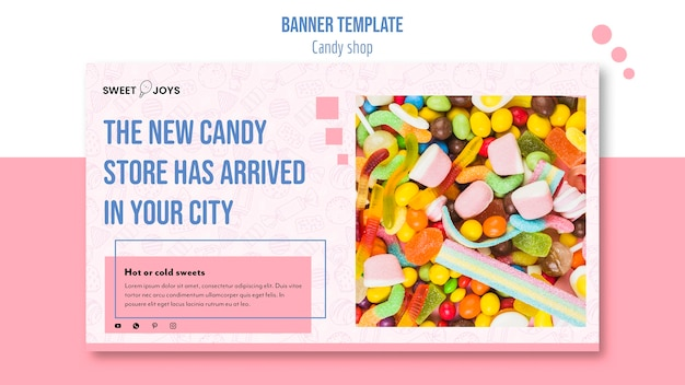Modello creativo dell'insegna del negozio di dolci con la foto
