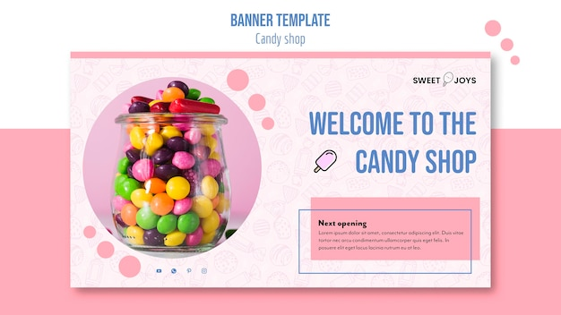 Creative candy shop banner template