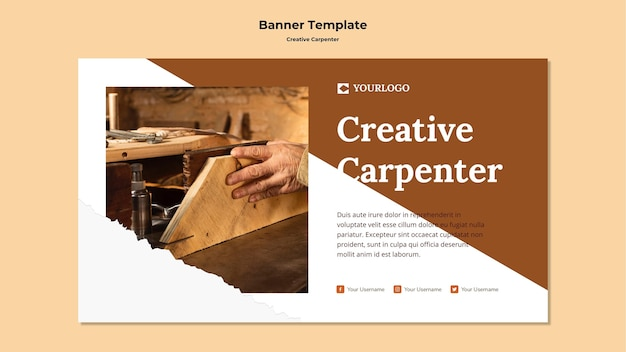 Креативный шаблон баннера плотника