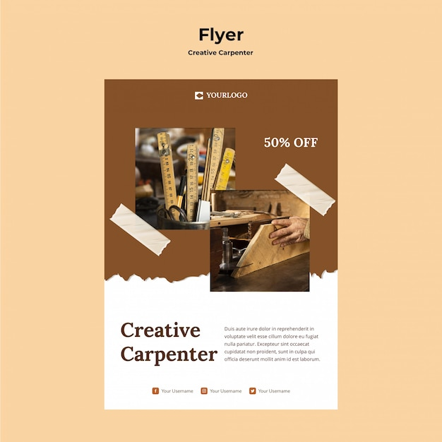 Creative carpenter flyer template