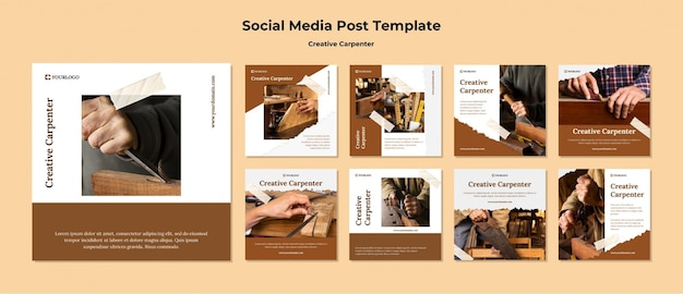 Creative carpenter social media post template