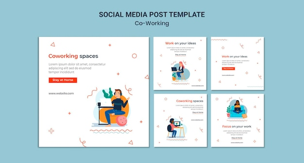 Creative co-working social media posts
