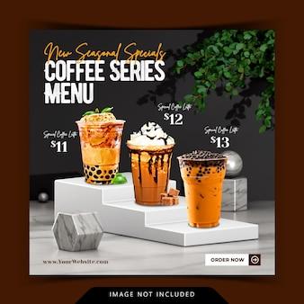 Креативное отображение меню кофейных напитков с 3d-рендерингом фона подиума для шаблона сообщения instagram