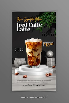 Creative coffee drink menu display with 3d podium background rendering for instagram post template
