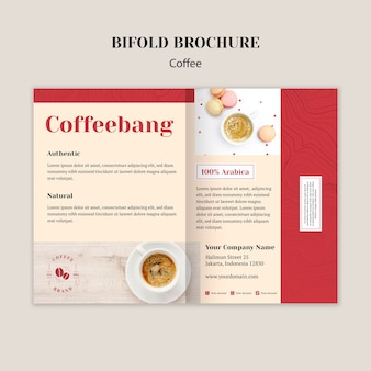 Creative coffee shop bifold brochure template