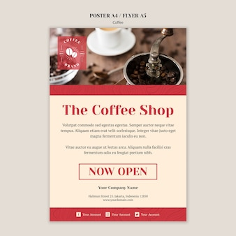Creative coffee shop poster template Free Psd