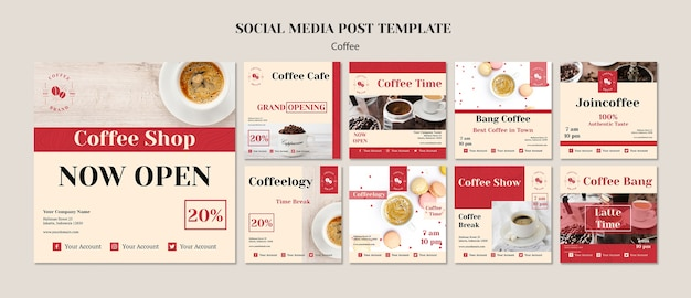 Creative coffee shop social media posts template
