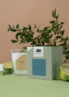 Creative composition of mock-up candle packaging