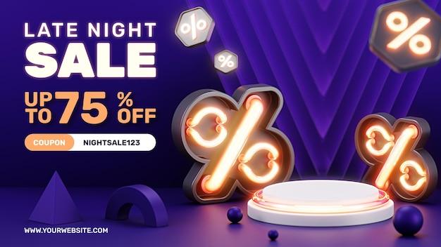 창조적 인 개념 3d 네온 불빛 할인 연단 제품 디스플레이 소셜 미디어 인스 타 그램 포스트 템플릿