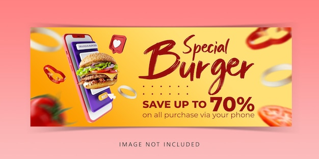 Creative concept burger menu marketing promotion template
