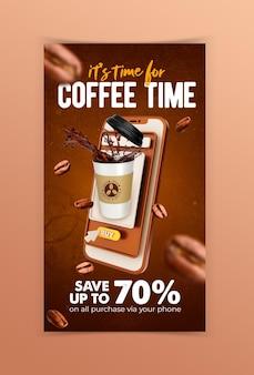 Креативная концепция кофейня меню напитков шаблон в социальных сетях instagram