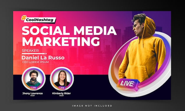 Creative concept cover video youtube thumbnail for live workshop promotion template