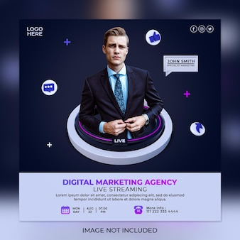 Creative concept digital marketing agency and corporate social media post template