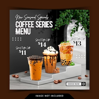 인스타그램 포스트 템플릿을 위한 3d 연단 배경 렌더링이 있는 크리에이티브 컨셉 음료 메뉴 디스플레이