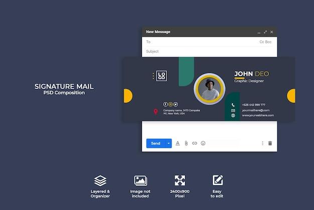 Креативная концепция дизайна шаблона подписи электронной почты или нижнего колонтитула электронной почты и личной обложки в социальных сетях