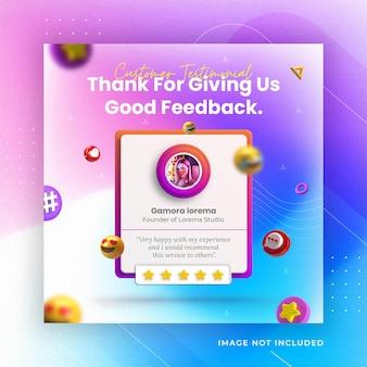 Creative concept feedback and customer testimonial social media instagram post template