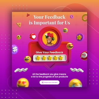 Creative concept feedback review and star rating for social media post instagram template Premium Psd