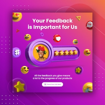 Creative concept feedback review and star rating for social media post instagram template