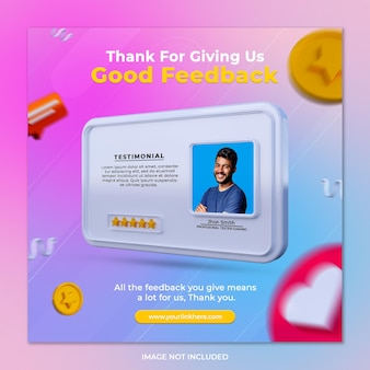 Creative concept feedback review and star rating for social media post template