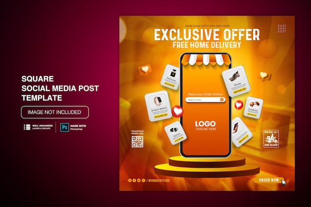 Creative concept flash sale online shopping promotion on social media post