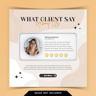 Креативная концепция для довольных отзывов клиентов отзывы клиентов в социальных сетях шаблон сообщения в instagram