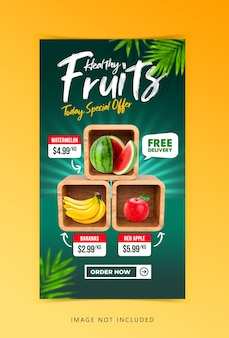 Creative concept fresh fruit and vegetable social media instagram template