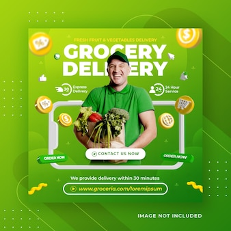 Creative concept fresh vegetable and fruit grocery delivery promotion for instagram post template