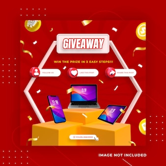 Creative concept give away contest social media post instagram template premium psd