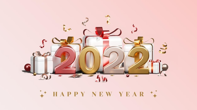 Creative concept happy new year 2022 with gift boxes balloons and confetti 3d render illustrations